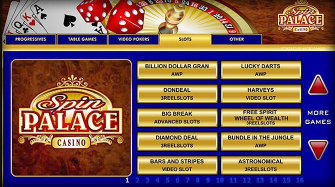Spin Palace para desktop e mobile