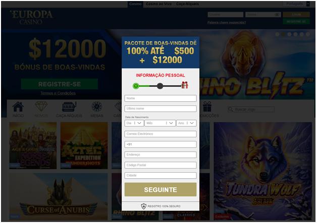Como abrir sua conta no Europa Casino