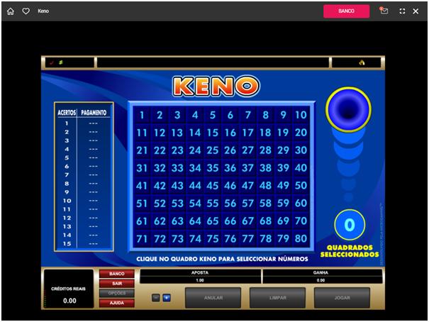 Keno padrão no Spin Casino Brasil