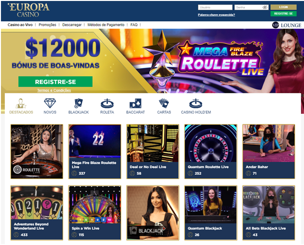 Mesas ao vivo no Europa Live Casino
