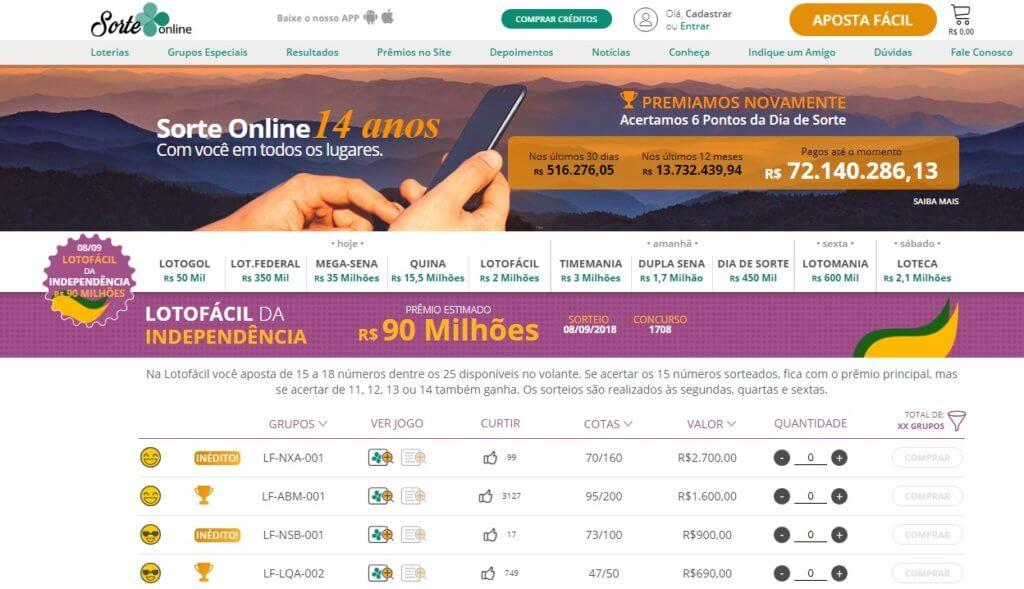 sorte online loteria