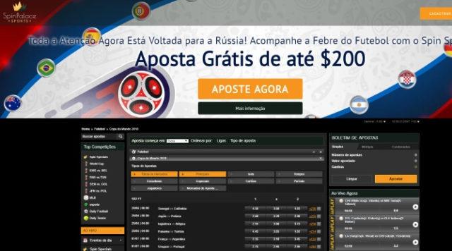 Spin Palace sports aposta $200 gratis futebol